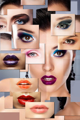 Digital Art. Set of Women's Faces with Colorful Makeup