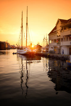 Sunset over Bergen port, Norway