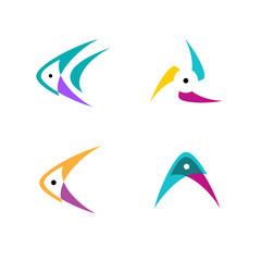 Logo design. Fish, arrow, fan and mountain concept.