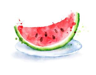 Watercolor watermelon on plate.