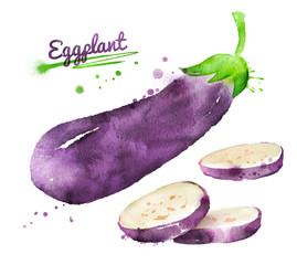 Watercolor eggplant.