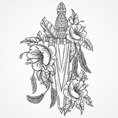 Medieval sword, flowers, leaves and feathers. Vintage floral highly detailed hand drawn illustration. Isolated elements. Victorian Motif. Tattoo design