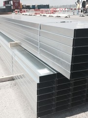 galvanised steel box section ready fro transport