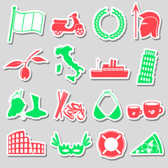 italy country theme various stickers set eps10