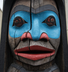 Totem pole in Duncan British Columbia