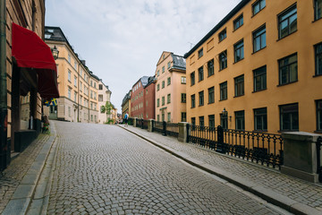 Street in the old town in Stockholm in Sweden