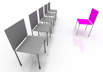 Leadership concept. Red and four grey chairs
