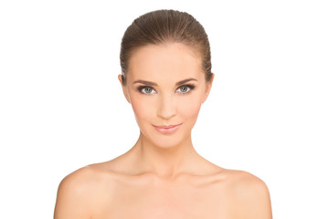 Side portrait of beautiful smiling woman with clean face