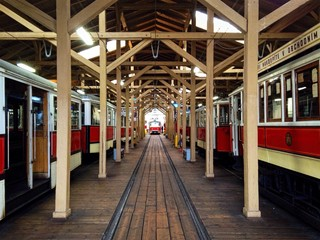 Old colourful tramways in the depot, Prague, Czech republic