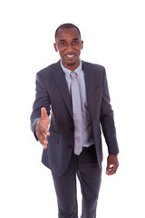 Portrait of a young African American business man greeting with