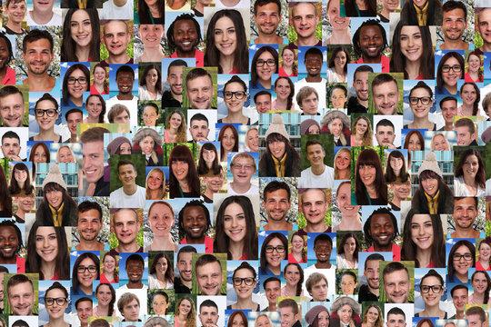 Hintergrund Collage junge Leute große Menschen Gruppe soziale N