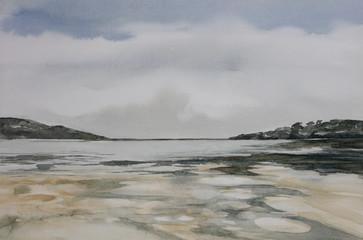 Original watercolour, beach landscape, Sedgefield, Western Cape, South Africa.