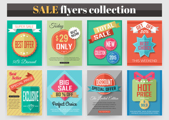 Set of colorful Sale flyers. Best creative design for Sale and
