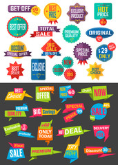 Big collection of Sale and Discount Offers labels, badges and