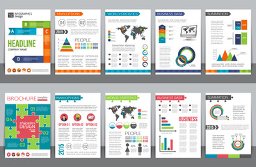 Set of corporate business stationery brochure templates with