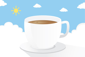 Coffee on the cloud in the morning. This is illustration about drink coffee to start a nice day