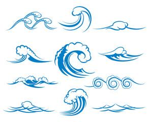 Wall Mural - Waves of sea or ocean waves, vector illustration