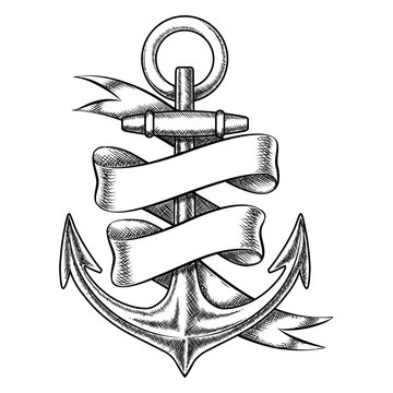 Vector hand drawn anchor sketch with blank ribbon