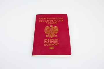 Polish passport cover on isolated white