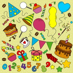 Many multicolored elements birthday