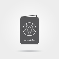 Spellbook with pentagram icon