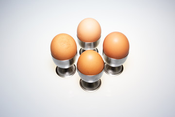 Four eggs in the stands on isolated white