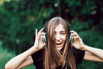 Happy girl laughs . Funny music.