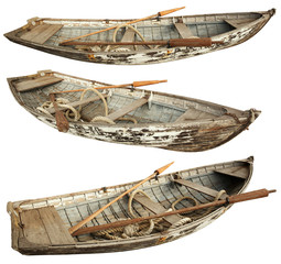 Old boat isolated on the white background.