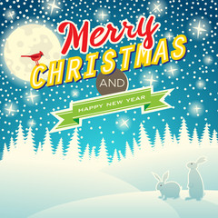 Christmas background with snowflakes, moon, hares and bird. Merr