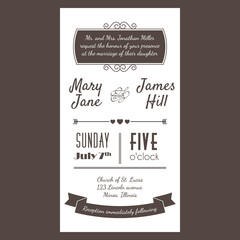Vector Vintage Invitation card with background zigzag, letters,