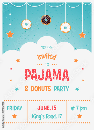 Pajama and donuts kids party invitation card template imagens e pajama and donuts kids party invitation card template stopboris Images