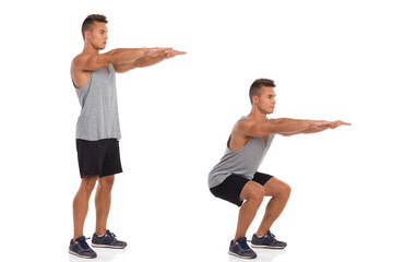 How To Make a Squat. Muscular man showing a squat exercise, side view, step by step.  Full length studio shot isolated on white.