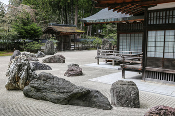 Traditional Japanese Zen Garden with Stones.