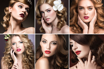 photo Collection of girls with evening makeup and curls. Options