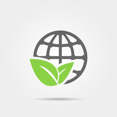 Earth and leaf icon