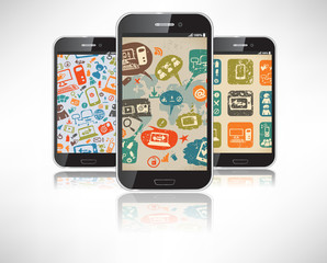 Smartphones with the wallpaper on the theme of social infographi