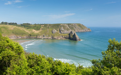 Wall Mural - Three Cliffs Bay the Gower Wales west view uk
