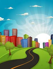 Downtown Cartoon Landscape