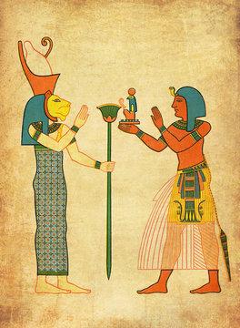 Antique Egypt - painting of goddess Sekhmet and pharaoh Ramses
