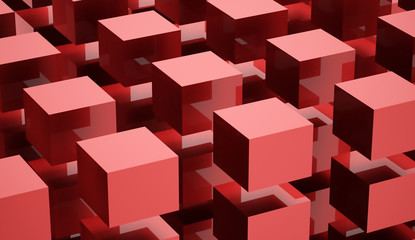 Abstract cubes background rendered on white background