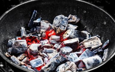 Burning coal shot from close range