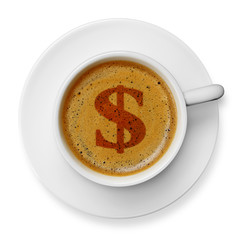 Dollar symbol on coffee
