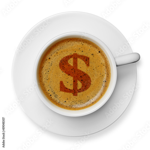 Dollar Symbol On Coffee Stock Photo And Royalty Free Images On