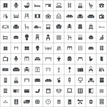furniture 100 icons universal set