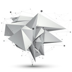 3D mesh modern stylish abstract object, origami facet structure