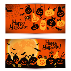 Halloween background of cheerful pumpkins with moon. Banners set