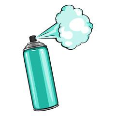 Vector Cartoon Aerosol Spray with Turquoise Paint