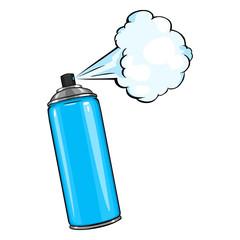 Vector Cartoon Aerosol Spray with Blue Paint