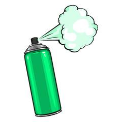 Vector Cartoon Aerosol Spray with Green Paint