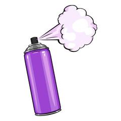 Vector Cartoon Aerosol Spray with Purple  Paint